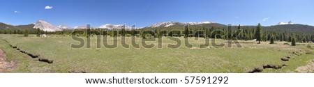 Tuolumne Meadows Panorama - stock photo
