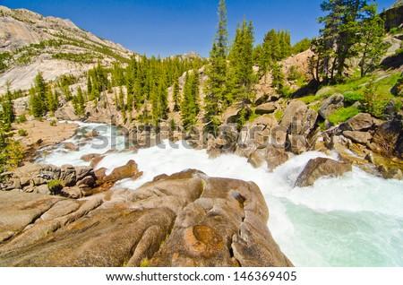 Tuolumne River at Glen Aulin at Yosemite National Park - stock photo