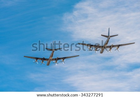 Tupolev Tu-95mc, russian strategic bombers - stock photo