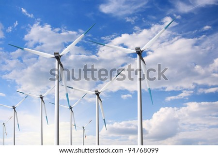 Turbine and blue sky - stock photo
