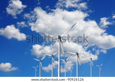 Turbine at blue sky - stock photo
