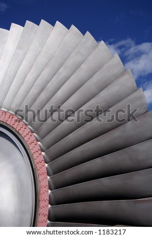 Turbine blades of a powerplant - stock photo