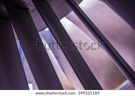 Turbine blades of a turbojet engine - stock photo