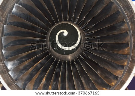 Turbine blades of aircraft jet engine. Aviation - stock photo