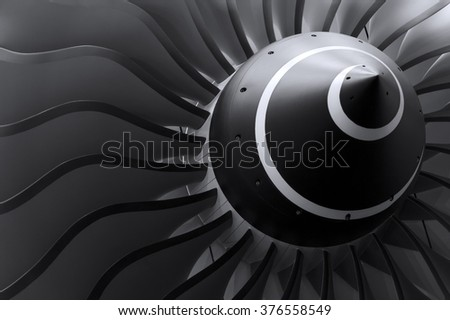 Turbine blades of turbo jet engine for passenger plane, aircraft concept, aviation and aerospace industry  - stock photo