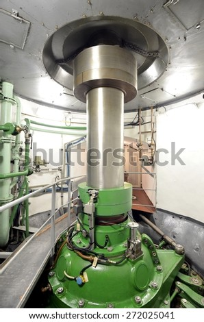 Turbine in Hydroelectric Power Plant, Italy. Transmission shaft energy motor - stock photo