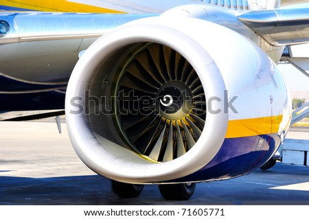 turbine of aircraft - stock photo