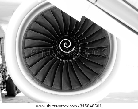 Turbine of airplane, black and white image - stock photo