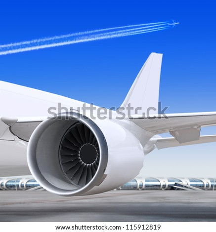 turbine of passenger plane that waiting for departure in airport - stock photo
