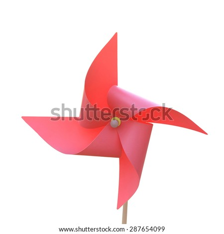Turbine sky red paper isolated on white background. This has clipping path.  - stock photo