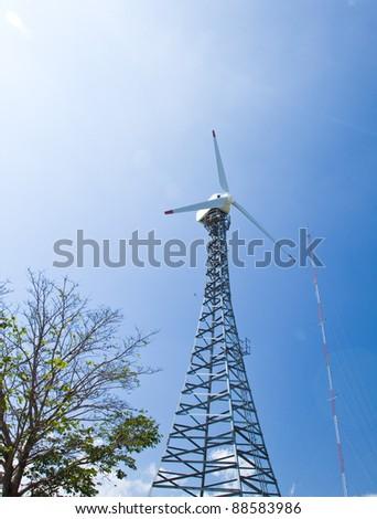 turbine towers. - stock photo