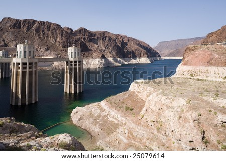 Turbine towers of the Hoover Dam - stock photo