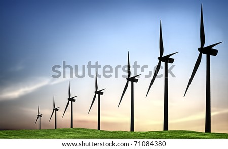 Turbines landscape - stock photo