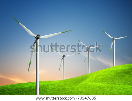 Turbines on the hill - stock photo