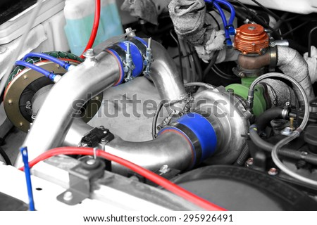 Turbo charger on car engine