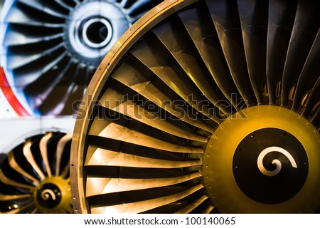 turbo engine in an air show - stock photo