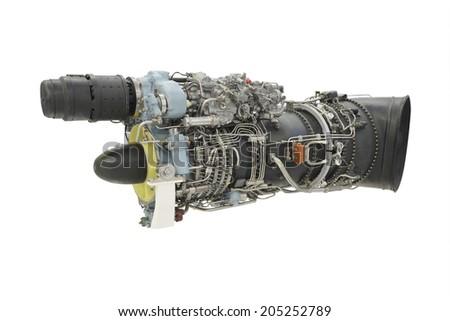 turbo jet engine under the white background - stock photo