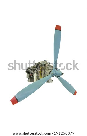 turbo jet engine with propeller under the white background - stock photo
