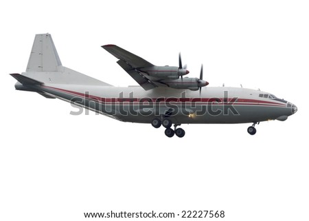 Turbo-prop airplane approaching Rwy - isolated on white - stock photo