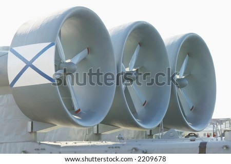 Turbo-prop engine of a naval hovercraft. - stock photo