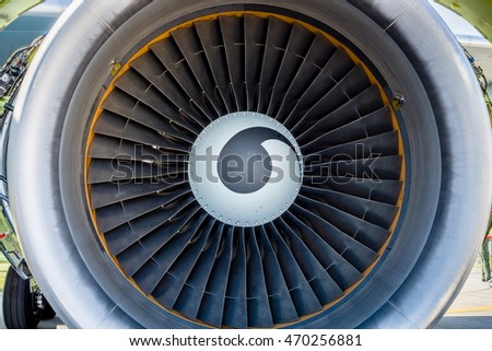 Turbofan jet engine close up.