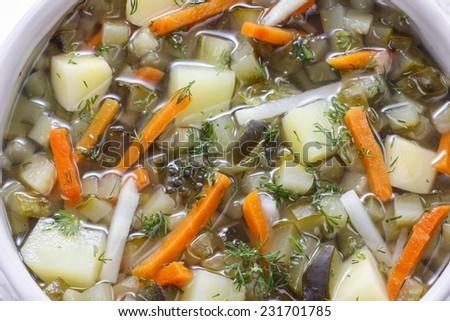 Tureen of soup  - stock photo