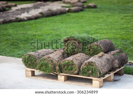 Turf grass rolls in stack - stock photo