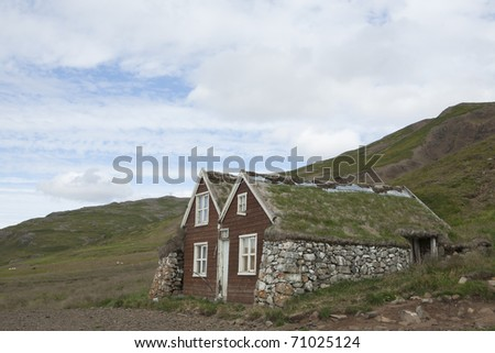 Turf house in Iceland - stock photo