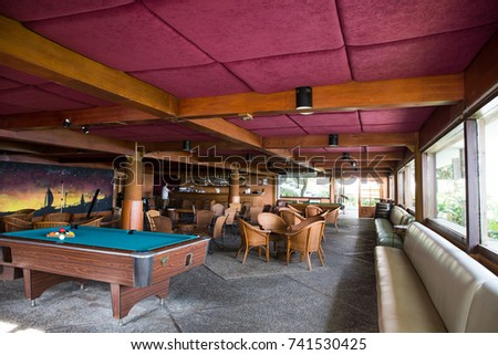 TURI BEACH RESORT, BATAM ISLAND, INDONESIA, SEPTEMBER, 2016: billiard parlor room at Turi Beach Resort in Batam Island