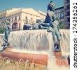 Turia Fountain in the Plaza de la Virgen Valencia Spain with retro effect - stock photo