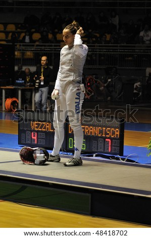 TURIN, FEB 6: Women Foil World Cup, fencer DI FRANCISCA Elisa (Italy) stands during break on tournament on  February 6, 2010 in Turin, Italy.