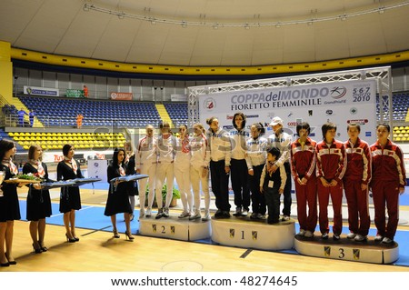 TURIN, FEB 7: Women Foil World Cup, team tournament awards ceremony 1st Italy 2nd Russia 3 rd China on  February 7, 2010 in Turin, Italy. - stock photo