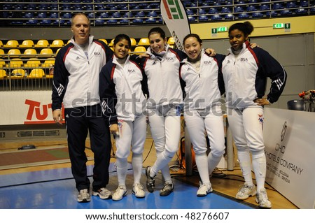 TURIN - FEB 7: Women Foil World Cup, Usa team (coach PEDERSON, SINGH, SCOTT, PRESCOD, WILLETTE) stands at team tournament on  February 7, 2010 in Turin, Italy.