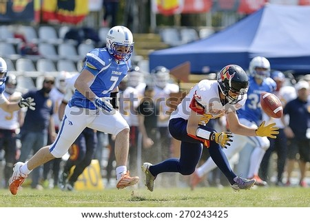 TURIN, ITALY - APRIL 12, 2015: Italian U19 team win the qualifying match with Spain for European championship, in the Nebiolo Stadium in Turin. - stock photo