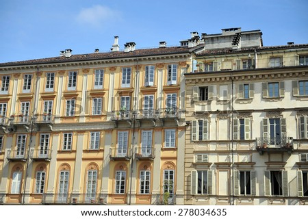 TURIN, ITALY - APRIL 18: Piazza Carlo Alberto, on April 18, 2015 in Turin, Italy - stock photo