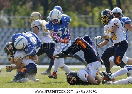 TURIN, ITALY - APRIL 12, 2015: SALOM FERNANDEZ Carlos rush after being stopped. Italian U19 team win the qualifying match with Spain for European championship, in the Nebiolo Stadium in Turin. - stock photo