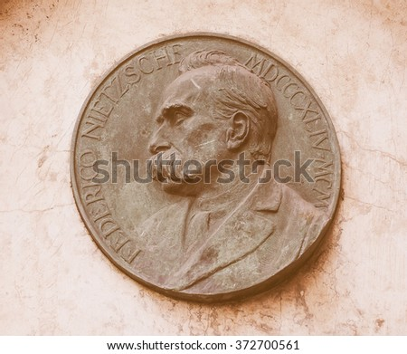 TURIN, ITALY - AUGUST 05, 2015: Commemorative plaque for Friedrich Niece at his house vintage - stock photo