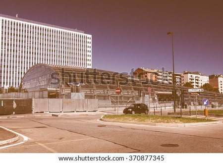 TURIN, ITALY - AUGUST 14, 2014: The new Torino Porta Susa station is the main railway and subway station in town vintage