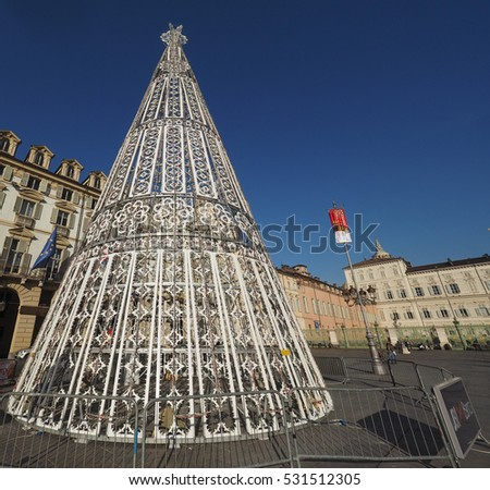 TURIN, ITALY - CIRCA DECEMBER 2016: Albero di Luci (meaning Tree of Lights) Christmas Tree in Piazza Castello