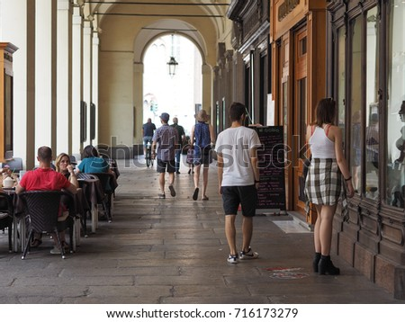 TURIN, ITALY - CIRCA JULY 2017: People in Via Po