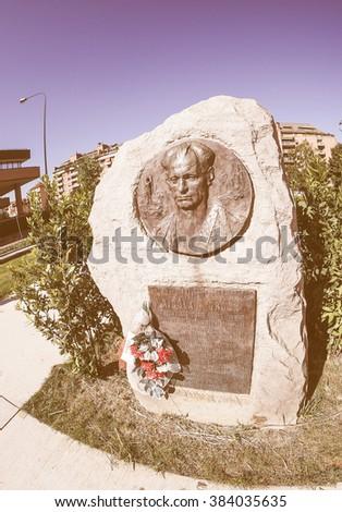 TURIN, ITALY - CIRCA SEPTEMBER, 2015: Nicola Grosa partisan memorial monument by sculptor Mastroianni, vintage - stock photo