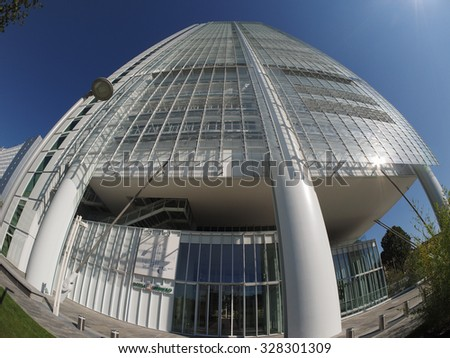 TURIN, ITALY - CIRCA SEPTEMBER, 2015: The new San Paolo headquarters designed by Renzo Piano are the highest skyscraper in town, seen with fisheye
