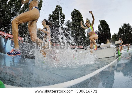 TURIN, ITALY - JULY 28: Competitors of 3000m Steeplechase Women Round of the Turin 2015 Italian Athletics Championships at the Primo Nebiolo Stadium on July 28, 2015 in Turin, Italy