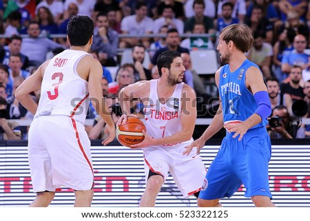 Turin, Italy - JULY 4, 2016:  Italy vs Tunisia on the opening day of the Olympic Qualifying tournament of basketball