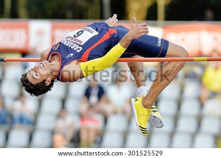 TURIN, ITALY - JULY 26: Nicola Ciotti perform high jump during Turin 2015 Italian Athletics Championships at the Primo Nebiolo Stadium on July 26, 2015 in Turin, Italy - stock photo