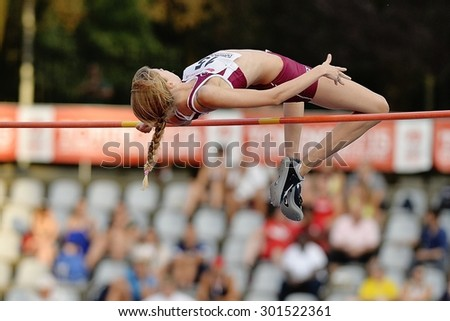 TURIN, ITALY - JULY 25: Rossit Desiree perform high jump during Turin 2015 Italian Athletics Championships at the Primo Nebiolo Stadium on July 25, 2015 in Turin, Italy. - stock photo