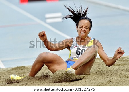 TURIN, ITALY - JULY 26: SANCHEZ FERRER Maryoris perform triple jump during Turin 2015 Italian Athletics Championships at the Primo Nebiolo Stadium on July 26, 2015 in Turin, Italy