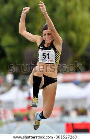 TURIN, ITALY - JULY 26: Simona La Mantia perform triple jump during Turin 2015 Italian Athletics Championships at the Primo Nebiolo Stadium on July 26, 2015 in Turin, Italy