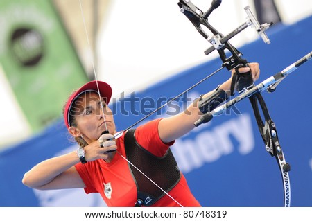 TURIN, ITALY-JULY 10: VAN LAMOEN Denisse (CHI), 2011 women recurve world champion, competes at 2011 World Archery and Para Archery Championships , on June 10, 2011 in Turin, Italy.