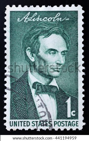TURIN, ITALY - JUNE 20, 2016: A stamp printed in USA showing the portrait of the president Abraham Lincoln, circa 1975